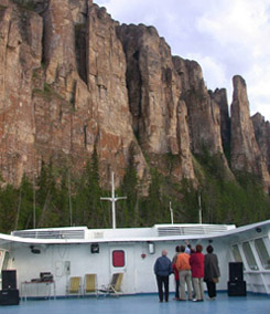 view from boat of Lena Pillars