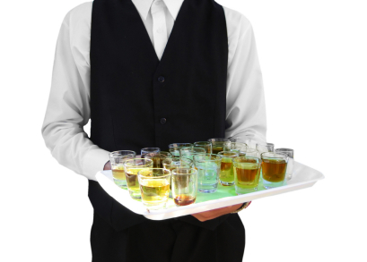 butler with cocktails