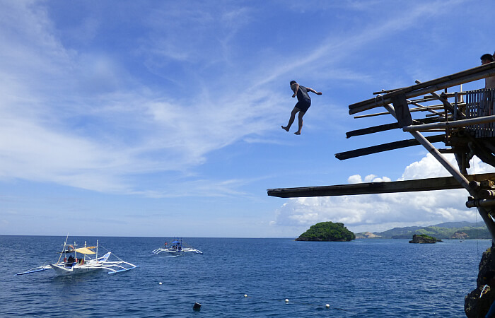 high dive jumping Boracay Philippines