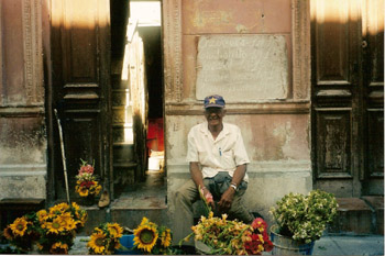 Cuban flower vendor