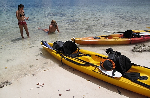 Palau kayakers beach